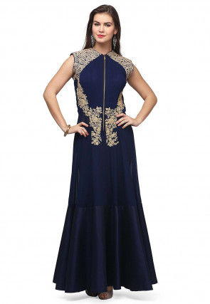 Embroidered Georgette Anarkali Kurta in Dark Blue