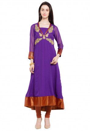Embroidered Georgette Anarkali Kurta Set in Purple