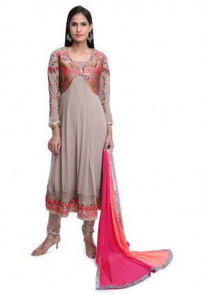 Embroidered Georgette Anarkali Suit in Light Fawn