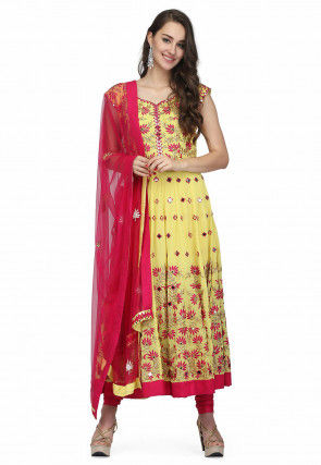 Embroidered Georgette Anarkali Suit in Light Yellow