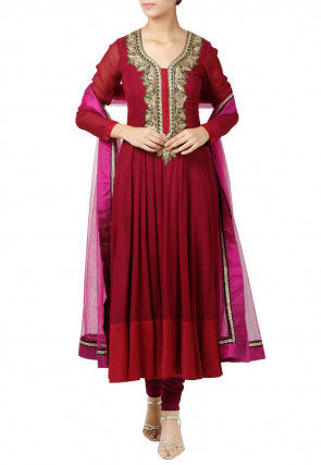 Embroidered Georgette Anarkali Suit in Magenta