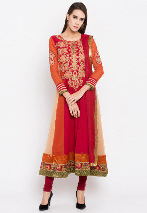 Embroidered Georgette Anarkali Suit in Multicolor