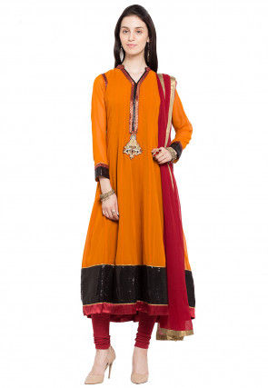 Embroidered Georgette Anarkali Suit in Mustard
