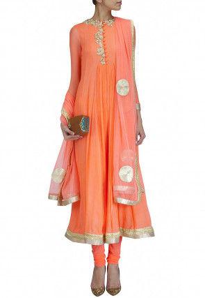 Embroidered Georgette Anarkali Suit in Orange