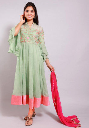 Embroidered Georgette Anarkali Suit in Pastel Green