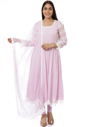 Embroidered Georgette Anarkali Suit in Pink