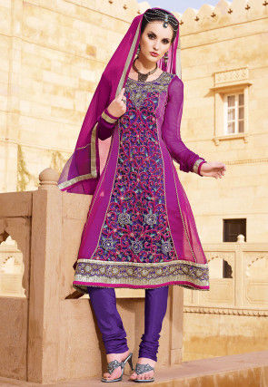 Embroidered Georgette Anarkali Suit in Purple