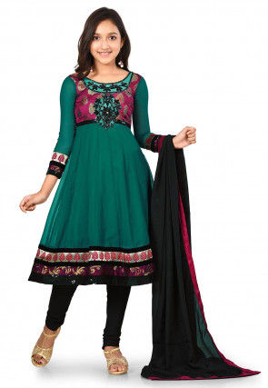 Embroidered Georgette Anarkali Suit in Teal Green and Magenta