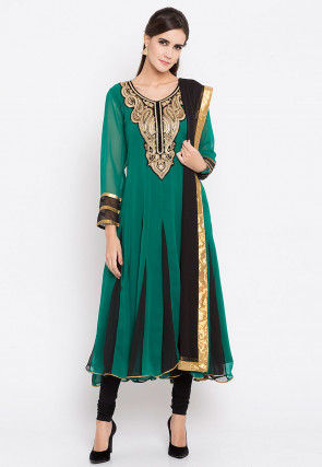 Embroidered Georgette Anarkali Suit in Teal Green