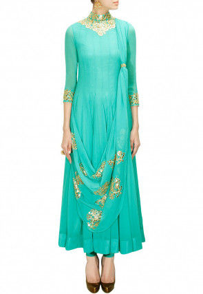 Embroidered Georgette Anarkali Suit in Turquoise