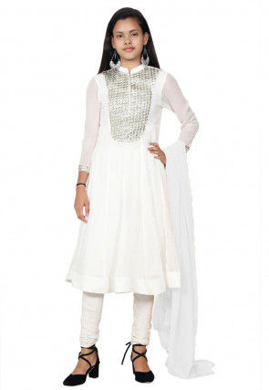 Embroidered Georgette Anarkali Suit in White