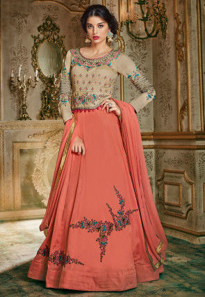 Embroidered Georgette and Art Silk Abaya Style Suit in Dark Peach and Beige