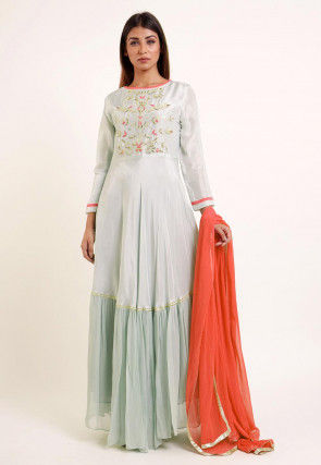 Embroidered Georgette and Art Silk Abaya Style Suit in Pastel Green