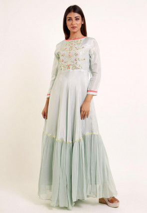 Embroidered Georgette and Art Silk Maxi Dress in Pastel Green