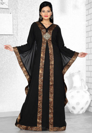 Embroidered Georgette and Satin Kaftan in Black
