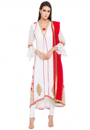 Embroidered Georgette Asymmetic in Off White