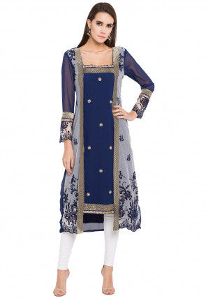 Embroidered Georgette Asymmetic Kurta in Blue and Off White