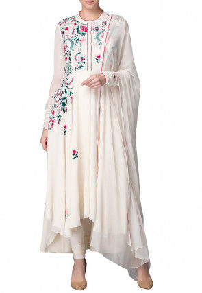 Embroidered Georgette Asymmetric A Line Suit in Off White
