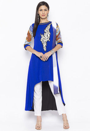 Embroidered Georgette Asymmetric A Line Suit in Royal Blue