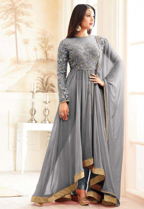 Embroidered Georgette Asymmetric Abaya Style Suit in Grey