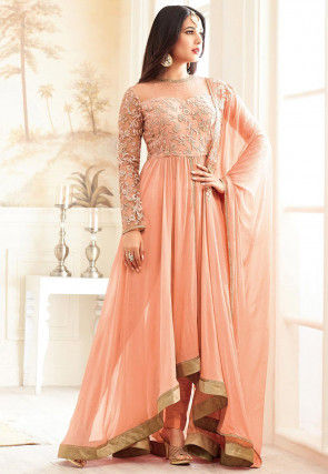 Embroidered Georgette Asymmetric Abaya Style Suit in Peach