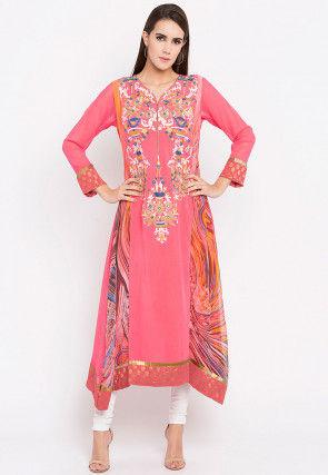 Embroidered Georgette Asymmetric Anarkali Kurta in Pink
