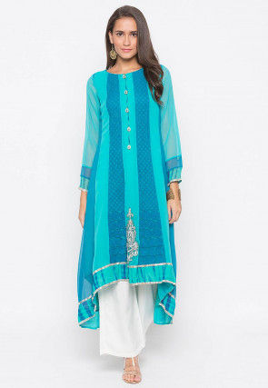Embroidered Georgette Asymmetric Anarkali Kurta Set in Blue