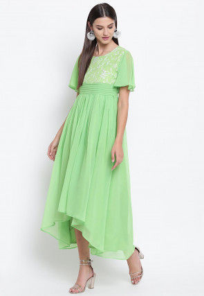 Embroidered Georgette Asymmetric Dress in Light Green