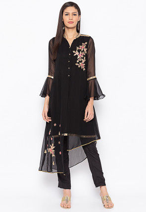 Embroidered Georgette Asymmetric Kurta in Black