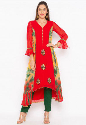 Embroidered Georgette Asymmetric Kurta in Red