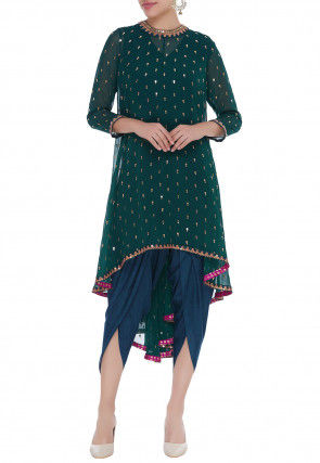 Embroidered Georgette Asymmetric Kurta Set in Dark Green
