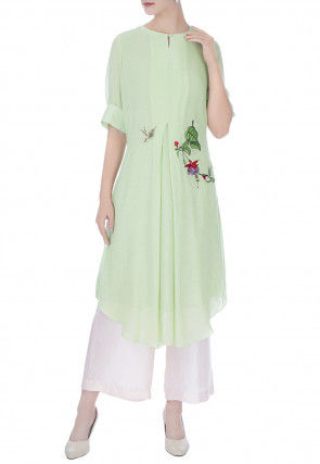 Embroidered Georgette Asymmetric Kurta Set in Pastel Green