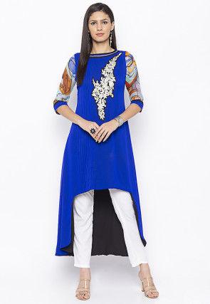 Embroidered Georgette Asymmetric Kurta Set in Royal Blue