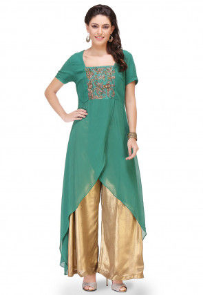 Embroidered Georgette Asymmetric Kurta Set in Teal Green