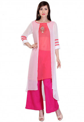 Embroidered Georgette Asymmetric Kurta Set in White and Pink