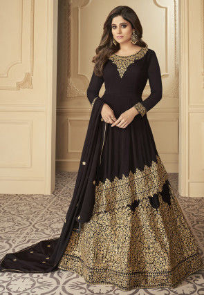 Embroidered Georgette Asymmetric Lehenga in Black