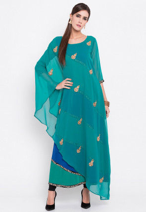 Embroidered Georgette Asymmetrical Style Kurta in Blue