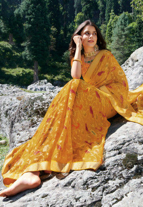 Embroidered Georgette Brasso Saree in Mustard