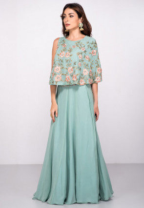 Embroidered Georgette Cape Style Top N Skirt in Light Blue