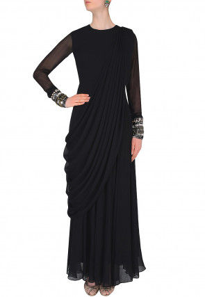 Embroidered Georgette Cowl Style Gown in Black