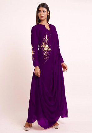 Embroidered Georgette Cowl Style Kurta in Purple