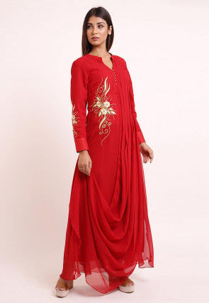 Embroidered Georgette Cowl Style Kurta in Red