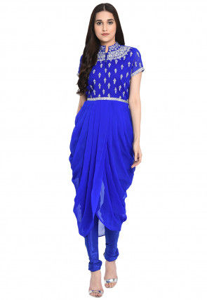 Embroidered Georgette Cowl Style Kurta in Royal Blue
