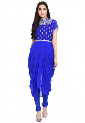 Embroidered Georgette Cowl Style Kurta Set in Royal Blue