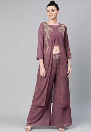Embroidered Georgette Crop Top Set in Dusty Purple