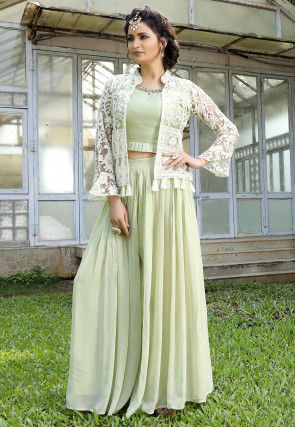 Embroidered Georgette Crop Top Set in Pastel Green