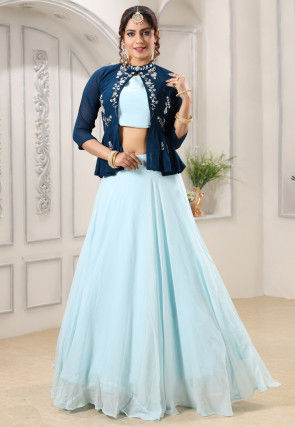 Embroidered Georgette Crop Top Set in Sky Blue