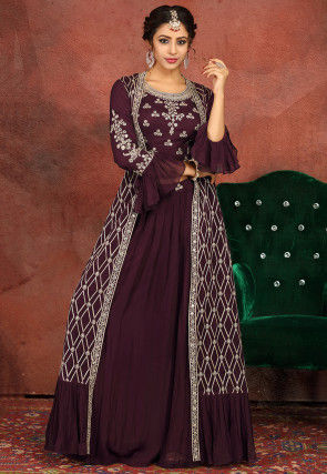 Embroidered Georgette Crop Top Set in Wine