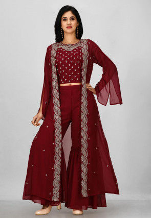 Embroidered Georgette Crop Top with Sharara in Maroon