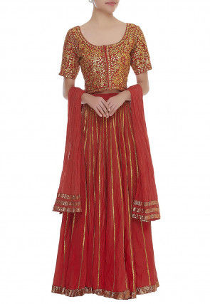 Embroidered Georgette Crushed Lehenga in Red